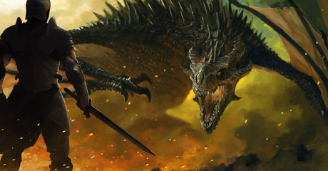 warrior and a dragon Wall mural