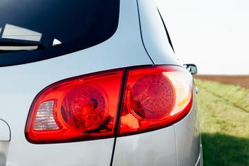Closeup of car taillight