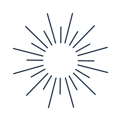 Vintage monochrome bursting rays sun lines illustration.