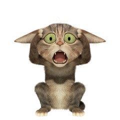 Scared kitten holding his head. 3d illustration. Isolated white background.