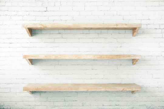 Shelves on brick