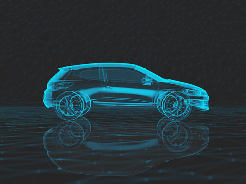 Blue x-ray car on a dark low poly background in 3d