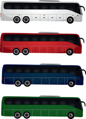 4 buses on white background