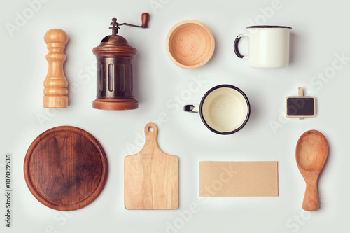 Kitchen View From Above : Quot kitchen mock up template with retro vintage objects view