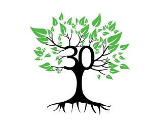 30th Anniversary Tree Logo Icon Template