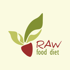 Raw food diet logo template with abstract vegetable root crop
