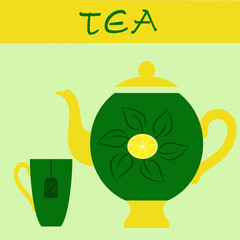 Зеленый чай с лимоном чашка и чайник