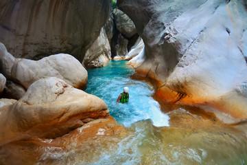 Deep Harmony Canyon in Turkey near Goynuk and tourists