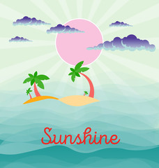 Summer beach scene: sun, clouds in the sky, palms, abstract waves of the sea