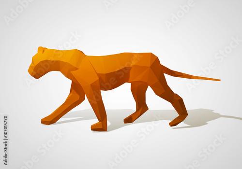"""3D illustration of origami lion. Polygonal lion. Walking ..."