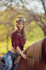 Cowgirl and Horse. Retro Style
