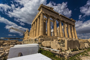 Athens Acropolis, Parthenon, white marble used for restauration in foreground