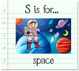 Flashcard letter S is for space