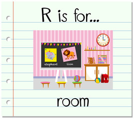 Flashcard letter R is for room