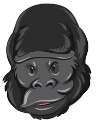 Gorilla head with happy face