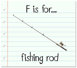 Flashcard letter F is for fishing rod