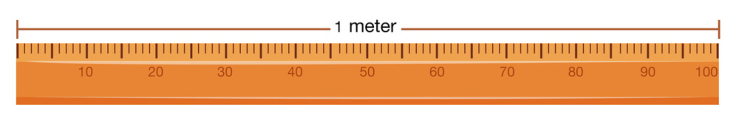 Wooden ruler with measurement in meter