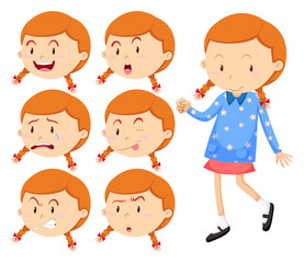 Little girl with different faces