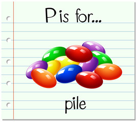 Flashcard letter P is for pile