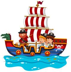 Children riding on viking ship at sea