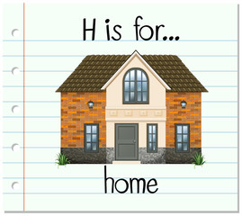 Flashcard letter H is for house