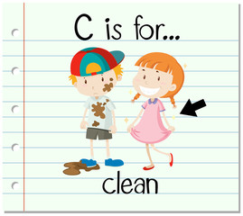 Flashcard letter C is for clean