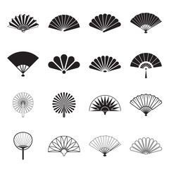 Hand fan icons. Collection of handheld icons isolated on a white background. Icons of folding and rigid fans. Vector illustration.