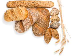 Different kinds of bread, above view