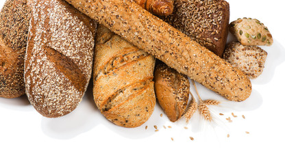 Assortment of baked bread, above view