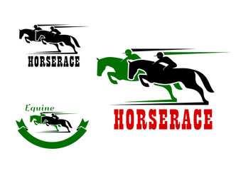 Horse race icons and equestrian sport