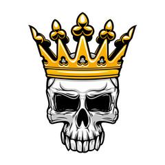 King skull in royal gold crown