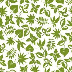 Green leaves retro seamless pattern