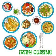 Irish national cuisine dishes set