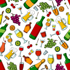 Alcohol, drinks and fruits seamless pattern
