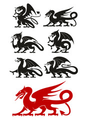 Medieval black heraldic dragons animals