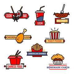 Fast food, sushi bar and bakery icons