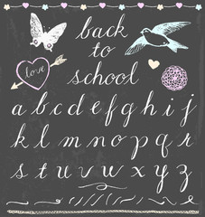 Chalk Cursive Script Letters Hand Drawn Vector Set