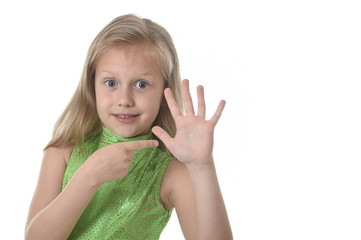 cute little girl pointing her hand in body parts learning school chart serie