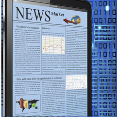 vector image of a palmtop showing market news.