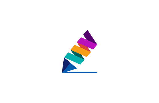 colorful pencil logo vector
