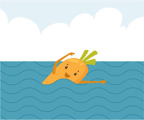 Cartoon carrot swimming