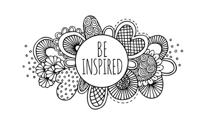 Be inspired hand drawn doodle black and white vector lineart