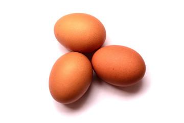 Fresh eggs on white background