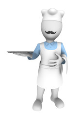 3d cooking chef with empty dish