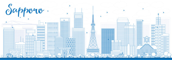 Outline Sapporo Skyline with Blue Buildings.