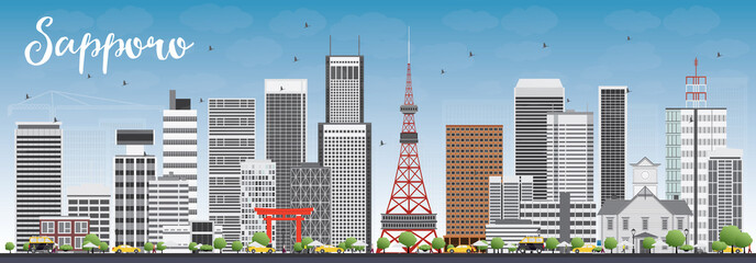 Sapporo Skyline with Gray Buildings and Blue Sky.