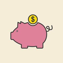 piggy icon design, vector illustration
