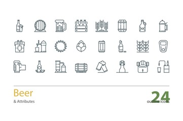 Set of vector outline Beer and Attributes icons.