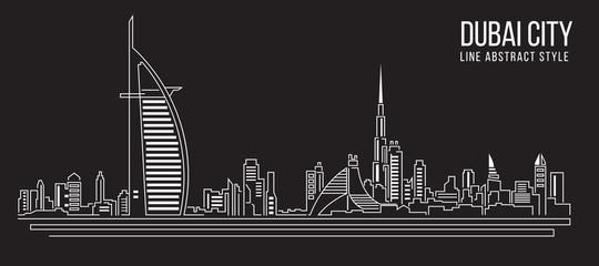 Cityscape Building Line art Vector Illustration design Dubai city