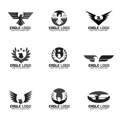 Black gray Eagle vector logo set design